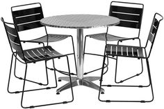 Flash Furniture TLH-ALUM-32RD-HA1BK4-GG 31.5'' Round Aluminum Indoor-Outdoor Table with 4 Black Metal Stack Chairs