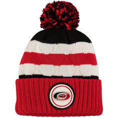 Carolina Hurricanes Mitchell & Ness Quilted Crown Jersey Stripe Hi-Five Cuffed Knit Hat with Pom - Red/Black - $23.99