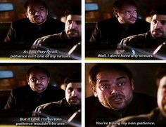 Supernatural // Crowley honestly has some of the best lines in this show lol Supernatural Imagines, Supernatural Tv Show, Supernatural Tattoo, Supernatural Wallpaper, Impala 67, Fandoms, Super Natural, Superwholock, Really Funny