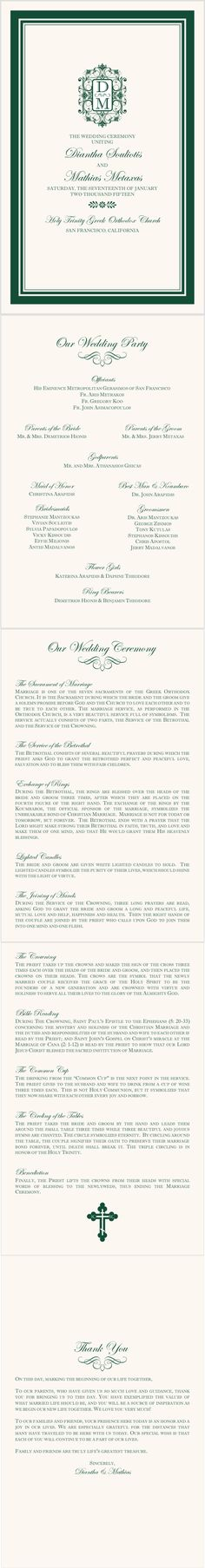 Greek Orthodox 03 Greek/Russian Orthodox Wedding Programs from Documents and Designs