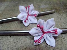 Silver & White Hair Chopsticks (Custom made - Favourite Colours) by EmjoyShop on Etsy https://www.etsy.com/listing/127673379/silver-white-hair-chopsticks-custom-made