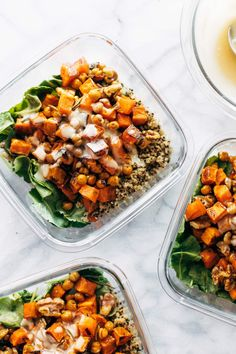 Quinoa Sweet Potato Salad A sheet-pan meal prep salad packed with roasted sweet potatoes caramelizy onions crisped chickpeas fresh rosemary and toasty maple walnuts Quinoa Sweet Potato, Salad With Sweet Potato, Potato Salad, Vegetarian Recipes, Healthy Recipes, Healthy Dinners, Healthy Salads, Crispy Chickpeas, Clean Eating