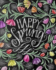 Spring Decor Spring Art Tulips Happy Spring Chalk by TheWhiteLime Blackboard Art, Chalkboard Print, Chalkboard Lettering, Chalkboard Designs, Chalkboard Ideas, Chalkboard Drawings, Lettering Art, Spring Sign, Spring Art