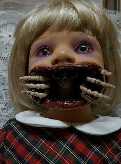 Skeleton Out of Mouth Zombie Baby Horror Doll Halloween Haunted House Prop in Collectibles, Holiday & Seasonal, Halloween