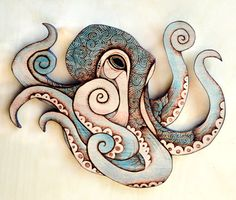 These are octopus wood wall hangings, made by me from high quality beech hardwood plywood with a pyrography (wood burning) design burned in. I add a light blue-green stain to highlight a few areas, and give them a protective lacquer coating. They are approx 10 1/2 in between widest points and 8 1/4 in tallwith a loop on the back for hanging. The wood is 9mm thick. One of the photos shows the wall hanging with a hens egg for scale. Each is signed and dated. I can add a personalised ...