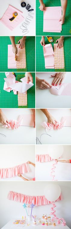 Step-by-step pink ruffle garland DIY for parties