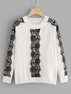 To find out about the Floral Lace Trim Chenille Sweater at SHEIN, part of our latest Sweaters ready to shop online today! Cute Fashion, Skirt Fashion, Teen Fashion, Runway Fashion, Korean Fashion, Fashion Outfits, Kids Outfits, Cool Outfits, Lace Sweater