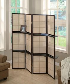 Cappuccino Folding Screen with Shelves