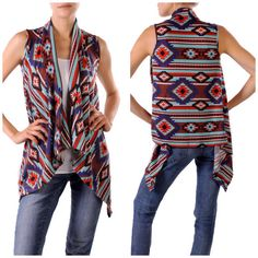 Hacci Tribal Printed Sleeveless Cardigan