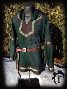 Green and Brown Viking Larp Tunic by Feral-Workshop on deviantART Dark green hooded tunic with brown panels, green/gold/brown trim