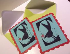 Swallowtail Love Bird Linocut Notes with Envelopes by craftyhag, $10.00