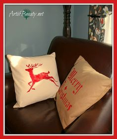 ART IS BEAUTY: Plain Goodwill Pottery Barn Pillows Transformed into CHRISTMAS pillows