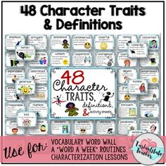 48 character traits with definition are perfect to use for bulletin boards, a Word a Week programs, teaching character trait minilessons, and literacy station activities. This resource contains definition cards with colorful clip art for 48 character Character Traits Activities, Positive Character Traits, Positive Traits, Character Education, Counseling Activities, Reading Activities, Educational Activities, Teaching Reading, Vocabulary Word Walls