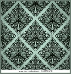 Monochrome blue hand drawn seamless ornament with baroque flowers Eps10