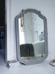 Carved Grey Wooden Mirror - Mirrors - Decorative Home - Home