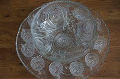 Vintage EAPG Imperial Glass Punch Bowl Set by ShabbyFrenchShack