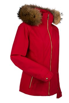 Women's ski and snowboard jacket. Three in one! The Darlene is realistic, flattering and adorable! The hip length jacket has a real raccoon fur lined hood and slimming design lines to make sure you look good regardless of the number of layers you have on underneath. So look good, feel good and hit the slopes! WATERPROOF- 10,000mm. BREATHABLE- 10,000g.