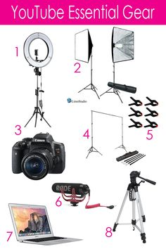 Neewer Ring Light Kit LimoStudio Softbox Lighting Kit Canon EOS Rebel Camera: Backdrop Support System: Backdrop Clamps Rode VMGO Microphone Apple MacBook Air Youtube Hacks, Youtube Setup, You Youtube, Youtube Video Ideas, Youtube Secrets, Maquillage Mary Kay, Start Youtube Channel, Softbox Lighting, Web Design Quotes