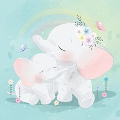 Cute elephant mother and baby Premium Ve. Cartoon Elephant, Elephant Art, Cute Elephant, Baby Cartoon, Cute Cartoon, Balloon Illustration, Elephant Illustration, Cute Animal Illustration, Cute Pink Background