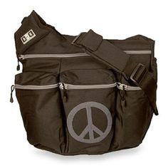 Diaper Dude® Black Peace Sign Diaper Bag - BedBathandBeyond.com