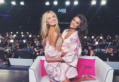 Romee Strijd and Taylor Hill backstage at the 2017 Victoria's Secret Fashion Show - Vogue Australia