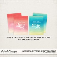 Free Art Notes: Your Story Journal and Filler Cards from Kristin-Cronin Barow Life Journal, Journal Cards, Live For Yourself, Finding Yourself, Camping Crafts, Smash Book, Blank Cards, Project Life, Digital Scrapbooking