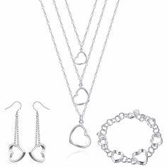 Romántico Mujeres Silver Jewelry Set Collar Colgante de Amor en Forma de Corazón de Color/de Largo Cuelga El Pendiente/Anillo Establece Joyería de La Boda