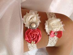 Coral Wedding Garter SetCoral and Ivory Garter Set by HopesBridal, $23.95