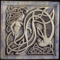 Decorative handmade ceramic tile: Celtic mermaid and seal ceramic tile