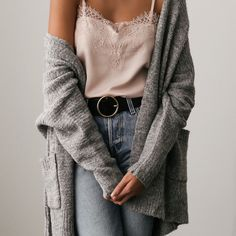 Cozy outfit - lace cami, gray cardigan, jeans flared jeans i Spring Outfits, Trendy Outfits, Winter Outfits, Cute Outfits, Fashion Outfits, Trendy Hair, Fashion Advice, Fashion Mode, Look Fashion
