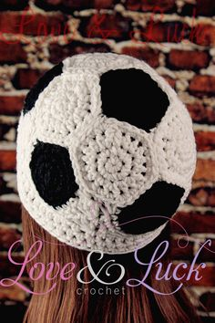 Soccer Ball Crochet Beanie Hat by LoveandLuckCrochet on Etsy, $25.00