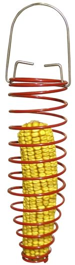 Metal Corn Cob Feeder. Also holds nesting material, suet balls, and fruit pieces.