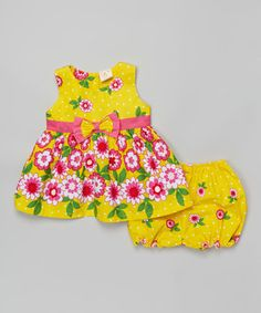 This Yellow & Fuchsia Floral Dress & Diaper Cover - Infant is perfect! #zulilyfinds