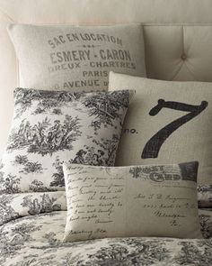"""Legacy Home """"Sydney"""" Bed Linens - Horchow  Four pillows...5,6,7,8?"""