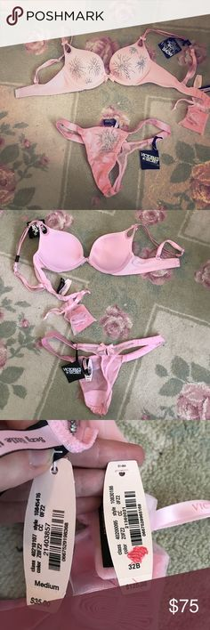 NWT Limited Edition Victoria's Secret set Brand new VS limited edition bra (32B) and panties (medium) in a flirty pink color and decorated with crystal fireworks. Victoria's Secret Intimates & Sleepwear Bras