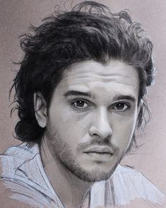 Kit Harington - Game of Thrones. Pastel Charcoal and Graphite Celebrity Portraits 2. By Justin Maas.