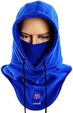 99807f651ac Amazon.com  UPMALL Tactical Balaclava Full Face Mask Fleece Warm Winter  Outdoor Sports Mask Wind-Resistant Hood Hat (Blue)  Sports   Outdoors