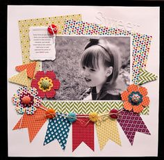 Sweet - Summer Smooches DSP mixed perfectly + brads and buttons Paper Crafts - The Ultimate Craft Id Baby Scrapbook, Scrapbook Paper Crafts, Scrapbook Cards, Paper Crafting, Scrapbook Photos, Simple Scrapbook Ideas, School Scrapbook, Scrapbook Titles, Scrapbook Sketches