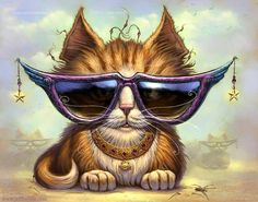 Items similar to Just Be Cat // 8 X 10 PRINT // Orange Tabby art print // Pet painting // Fantasy Cats // Giclee print // Cool Cat Sunglasses // Tabby Cat on Etsy Steam Punk, Cool Cats, Gato Steampunk, Chats Tabby Oranges, Animal Gato, Cat Sunglasses, Sunnies, Gatos Cats, Orange Tabby Cats