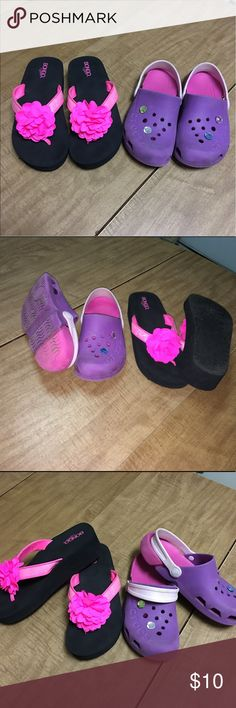 "Bundle of 2 pairs of shoes - size girls 12 Girls flip flop have never been worn. Authentic Crocs have reversible strap which can be worn in front or back & come with ""jewels"" as seen. Both in excellent condition with no flaws. CROCS Shoes Sandals & Flip Flops"