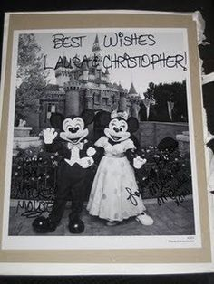 Did you know that if you send Mickey and Minnie Mouse an invitation to your wedding theyll send you back an autographed photo and a Just Married button? Also, if you send Cinderella and Prince Charming an invitation, youll get an autographed congratulatory certificate. Here are the addresses: Micky Minnie / The Walt Disney Company / 500 South Buena Vista Street / Burbank, California 91521 Cinderella and Prince Charming / P.O. Box 1000 / Lake Buena Vista,