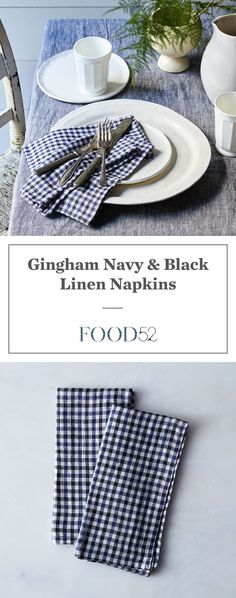 Gingham Navy & Black Linen Napkins (Set of 2)