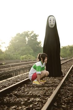 Chihiro and No-Face Spirited Away