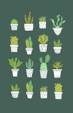 Your friends will be green with envy when they see this cute Cactus print adoring that wall in your house. Doodle Drawing, Cactus Art, Paper Cactus, Plant Illustration, House Illustration, Pattern Illustration, Bird Art, Cute Wallpapers, Geometric Shapes