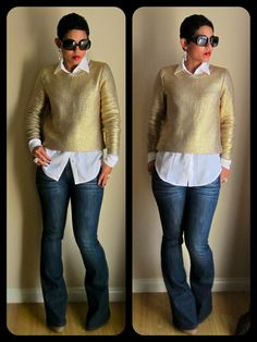 mimi g.: What I Wore | Gold Sweater