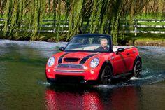 This MINI Cabrio boat is making a splash at the Charles Regatta. Mini Cabrio, Mini Driver, Mini Usa, Amphibious Vehicle, Mini Cooper Convertible, Float Your Boat, Charles River, Ways To Travel, Classic Mini