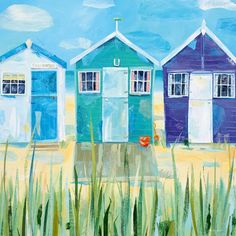 Three Beach Huts Greeting Card by Claire Henley | Whistlefish Galleries