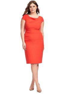 Adrianna Papell | Bright Cayenne Cowl Neck Dress | Gwynnie Bee