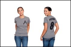 Baseball t-shirts of classic authors.  Maybe they will make me seem more sporty?  I like the Hester Prynne one.