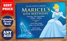 This Instant Downloadable is for a Cinderella Birthday Invitation Template in Photoshop (PSD).  Our templates are designed to to be easy and
